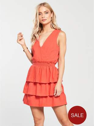 Very Shirring Tiered Linen Dress - Coral