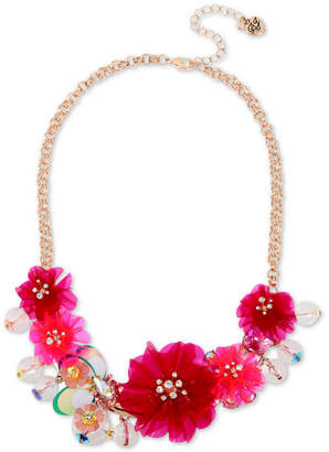"""Betsey Johnson Rose Gold-Tone Crystal Flower Statement Necklace, 16"""" + 3"""" extender"""