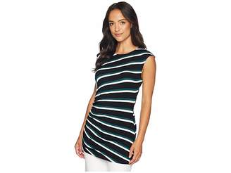 Vince Camuto Cap Sleeve Side Ruched Desert Stripe Top