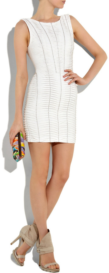 Herve Leger Chain-embellished mesh and bandage dress