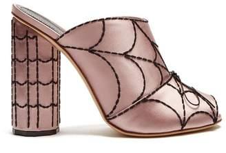 Marco De Vincenzo Spider's web-embroidered satin mules