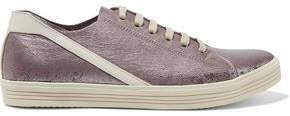 Rick Owens Metallic Cracked And Smooth Leather Sneakers