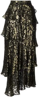 A.L.C. leopard lurex tiered maxi skirt