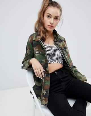 Pull&Bear camo printed jacket in multi