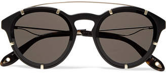 Round-frame Acetate And Gold-tone Sunglasses - Black