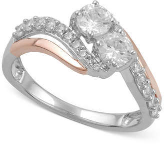 Two Souls, One Love Diamond Two-Stone Anniversary Ring (1 ct. t.w.) in 14k White Gold or 14k White Gold with Rose Gold