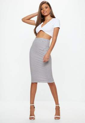 Missguided White Ribbed Stripe Bodycon Midi Skirt