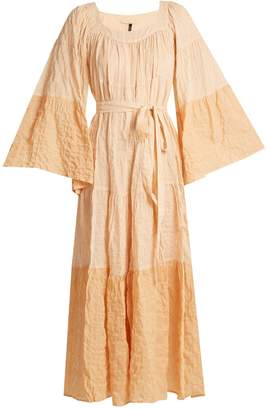 Ruffled waist-tie striped cotton-blend dress