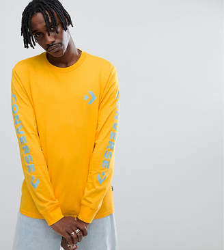 Converse Long Sleeve Top With Arm Print In Yellow Exclusive at ASOS