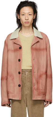 Acne Studios Pink Leather Lance Jacket