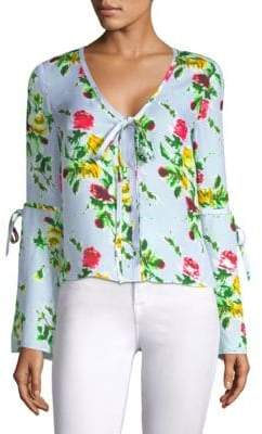 Milly Maggie Silk Floral Bow Top