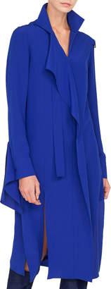 Akris Stand-Collar Asymmetric Ruffle Front Silk Crepe Dress w/ Slit