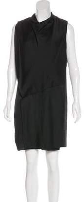Helmut Lang Silk Textured Cowl Neck Dress
