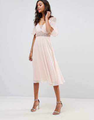 Asos Design Lace Insert Flutter Sleeve Midi Dress