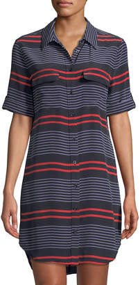 Equipment Short-Sleeve Slim Signature Striped Shirtdress, Blue/Red