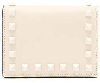 Valentino Rockstud Leather Wallet - Womens - Ivory