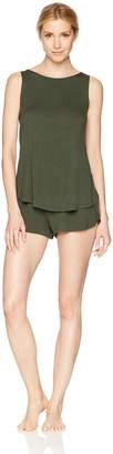 Mae Amazon Brand Women's Sleepwear Sleeveless Split Back Top and Short Pajama Set