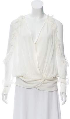 Thomas Wylde Cold-Shoulder Silk Blouse