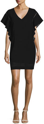 Trina Turk Flutter-Sleeve Classic Crepe V-Neck Shift Dress, Pink Clash $268 thestylecure.com