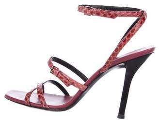 Gucci Snakeskin Ankle Strap Sandals