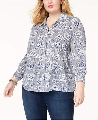 INC International Concepts I.n.c. Plus Size Printed Shirt, Created for Macy's