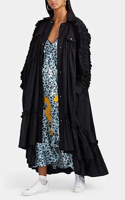 BROGGER Women's Ruffle-Trimmed Crushed Ripstop Opera Coat - Black