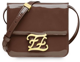 Fendi karligraphy patent leather shoulder bag