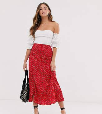 131a521a160b Wednesday's Girl midi skirt with peplum hem in daisy print