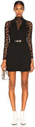 Givenchy Leopard Print Wool Crepe Overall Dress