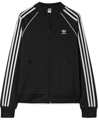 adidas Striped Satin-jersey Track Jacket - Black