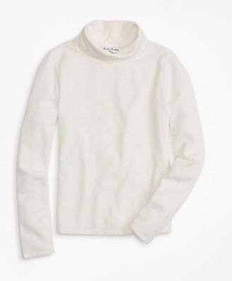 Brooks Brothers Girls Knit Scalloped Turtleneck