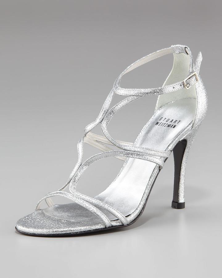 Stuart Weitzman Strappy Glitter Cutout Sandal