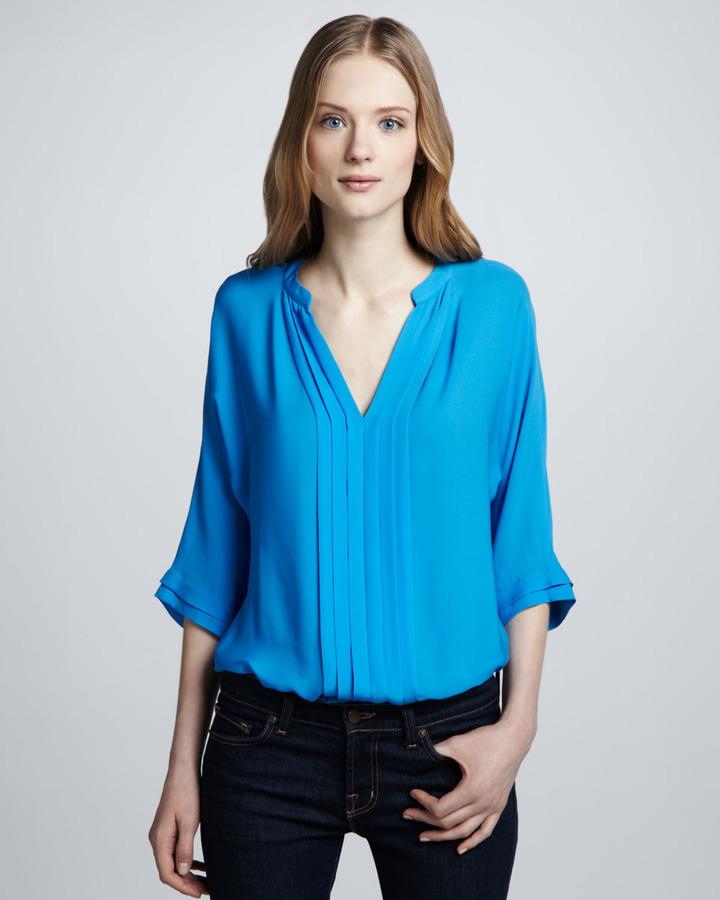 Joie Marru Silk Blouse, Blue Aster