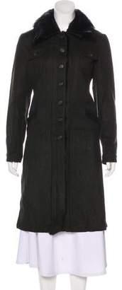 Prada Wool Fur-Trimmed Coat
