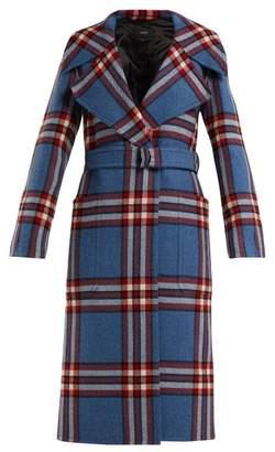 Joseph Teodor Belted Wool Check Coat - Womens - Blue Multi