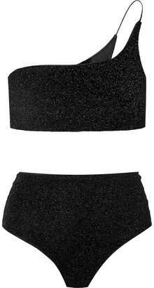 Oséree - Lumière One-shoulder Stretch-lurex Bikini - Black