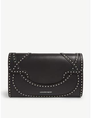 Alexander McQueen Black Wicca Leather Envelope Clutch Bag