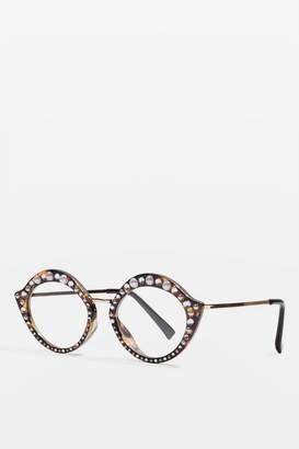 Topshop Embellished Pout Reader Frame Sunglasses