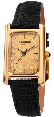Akribos XXIV Gold Tone Dress Quartz Watch With Leather Strap [AK1046BR]