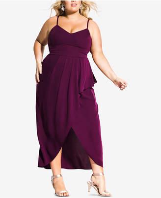 534e148f683 City Chic Trendy Plus Size Pleated Faux-Wrap Maxi Dress