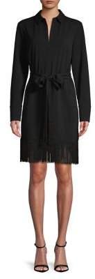 Halston H Self-Tie Fringed Shirt Dress