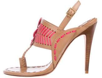 012aa1689 Tory Burch Woven Leather Women s Sandals - ShopStyle