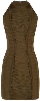 Balmain Lace-Up Knit Bodycon Dress