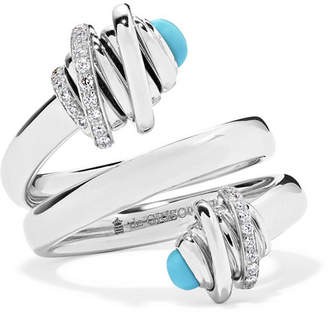 de Grisogono Toi & Moi 18-karat White Gold, Diamond And Turquoise Ring - 6