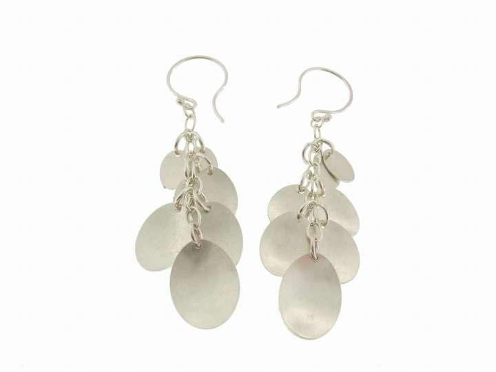 Jane Hollinger 7 Petal Earrings in Silver