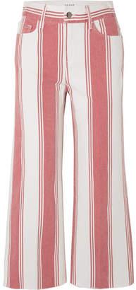 Frame Vintage Crop Striped High-rise Wide-leg Jeans