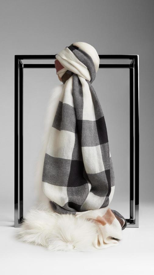 Burberry Fur Trim Cashmere Check Scarf