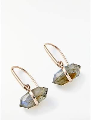 John Lewis & Partners Semi-Precious Stone Bar Hook Drop Earrings, Rose Gold/Labradorite