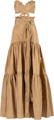 Maria Lucia Hohan Estella Belted Tiered Taffeta Maxi Skirt Size: 34