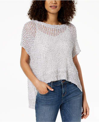 Eileen Fisher Organic Cotton Open-Knit High-Low Sweater
